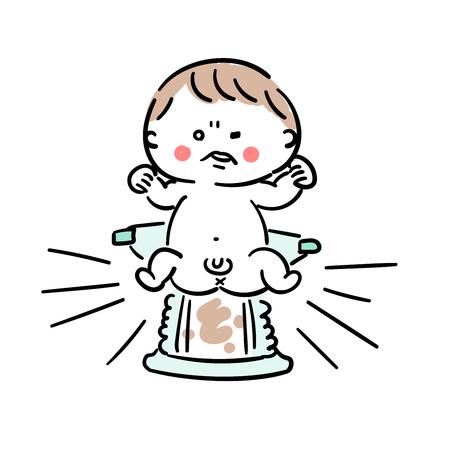おむつにうんこを持つ赤ちゃん