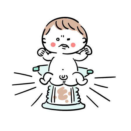 Baby with poop on diaper