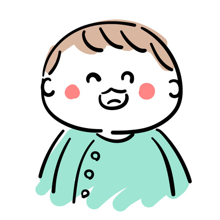 Baby  laughing illustration.