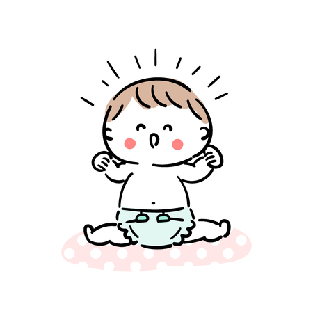 Baby laughing with a diaper