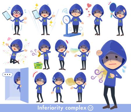 Blue hacker men in complex. Illustration