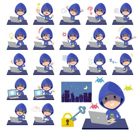 Blue hacker men at desk working. Stock Vector - 94276987