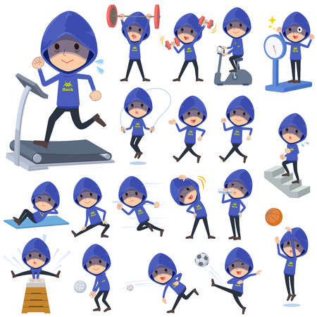 Blue hacker men doing sports and exercise.