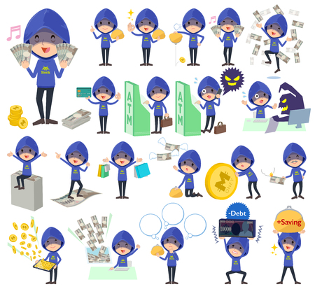 Blue hacker men with money.