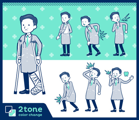 2tone type Doctor old men_set 08 Illustration
