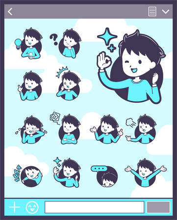 Girl wearing blue shirt in different gestures. Vector illustration.