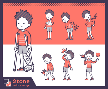 2tone type Red clothing short hair boy illustration Illustration