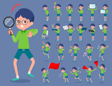 Boy with green clothes and eyeglasses set.  イラスト・ベクター素材
