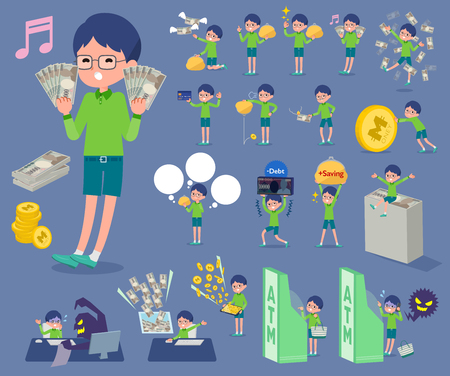 Boy with green clothes and eyeglasses holding money set.
