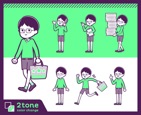 Boy with glasses wearing green shirt doing different gestures. Vector illustration. 向量圖像