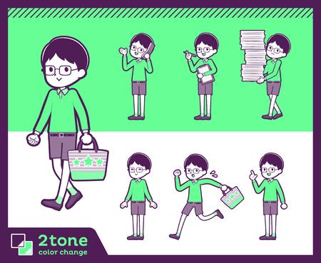 Boy with glasses wearing green shirt doing different gestures. Vector illustration. Ilustração