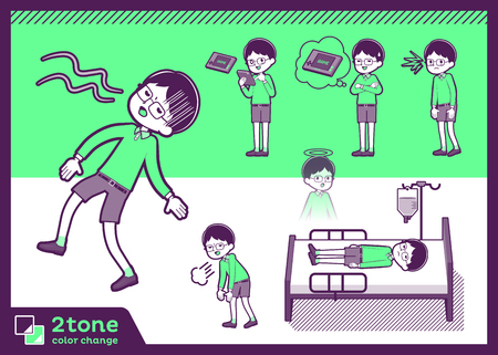 2tone type Green clothing glasses boy_set 10  イラスト・ベクター素材