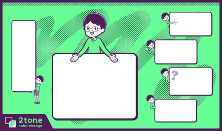 Boy with glasses wearing green shirt doing different gestures. Vector illustration. Standard-Bild - 95339871