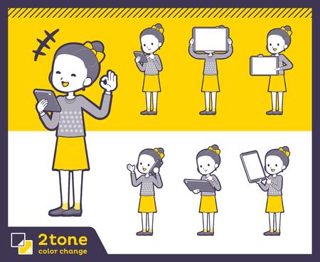 Two tone clothes of girl set Ilustracja