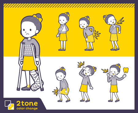 Girl in gray sweatshirt and yellow skirt in different gestures. Vector illustration.