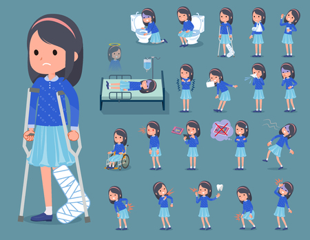 Flat type Blue clothes headband girl in different sickness condition
