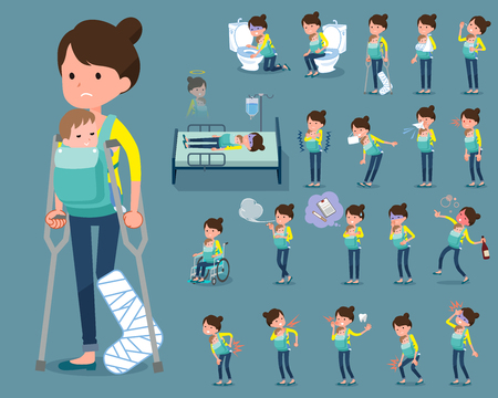 Mother and baby sickness icon set Çizim