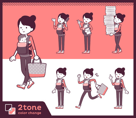 2tone type Mother and baby_set 02. Illustration