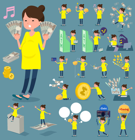 flat type Pregnant women with money vector set