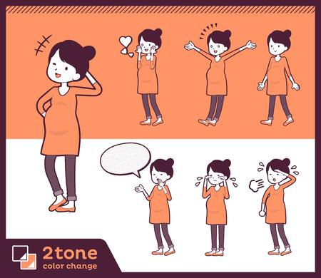 2tone type Pregnant women illustration