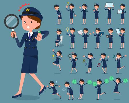 set of police women in uniform, vector illustration on color background. Stock Illustratie