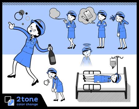 2 tone type drunk police women set.