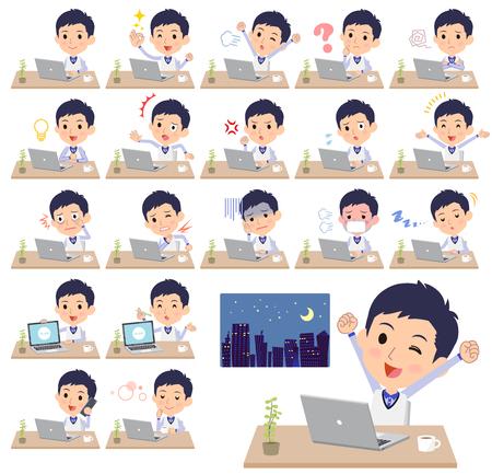 Man in uniform doing desk work vector set Illustration