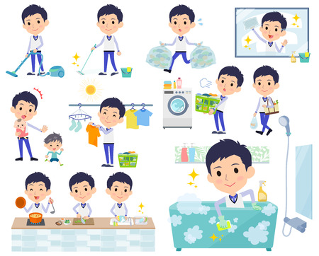 Man in uniform doing housekeeping vector set Illustration