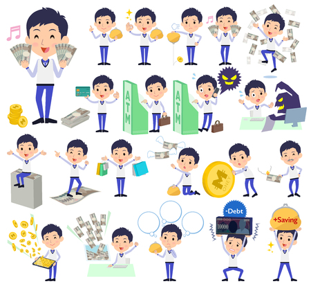 Man in uniform with money vector set Illustration