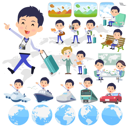 Store staff blue uniform men travel.