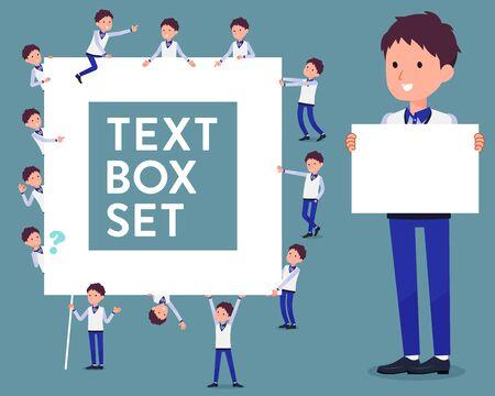 Flat type store staff blue uniform men text box. Illustration