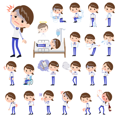 2 tone type store staff in blue uniform having sickness. Illustration