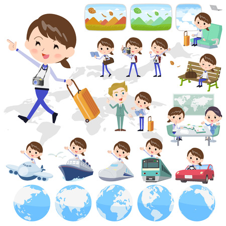 2 tone type store staff in blue uniform traveling in different locations. Illustration