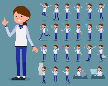 2 tone type store staff in blue uniform doing different tasks.  イラスト・ベクター素材
