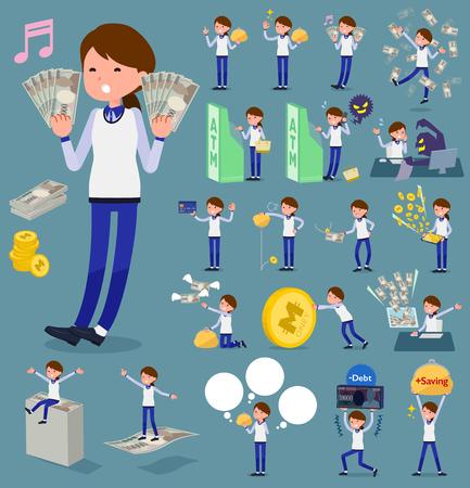 2 tone type store staff in blue uniform holding money. Illustration