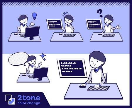 2 tone type store staff in blue uniform, women working on a computer. Illustration