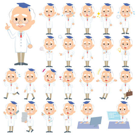 set Research Doctor old men Vector illustration. Vectores