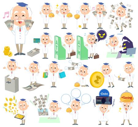 Research Doctor old men money Illustration