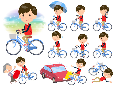 set vector illustration of man in red vest riding a bicycle in different incidents.