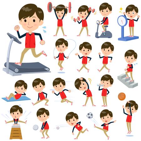 Store staff red uniform men on Sports