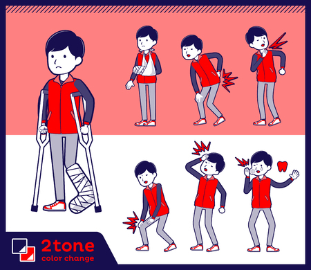man in red vest in different poses on color background. Vector illustration.