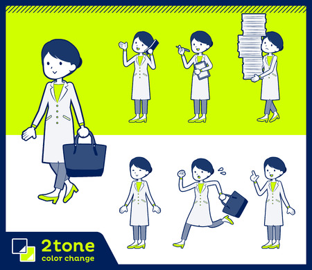 Female with a white coat action vector illustration set