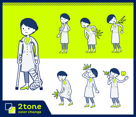 2tone type White coat women_set 08 Illustration