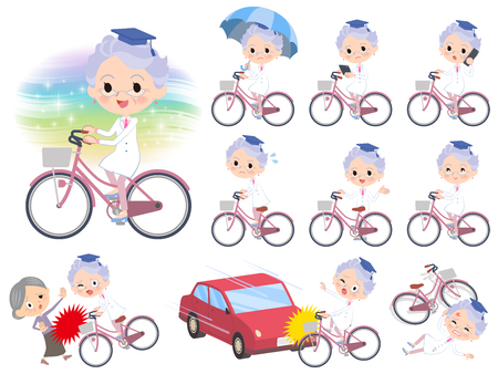 Research Doctor old women on city bicycle