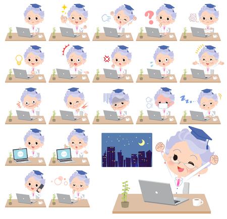 Alte Frauen des Forschungsdoktors auf Schreibtischarbeit