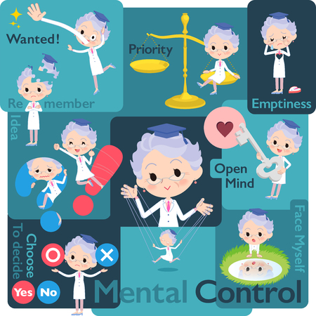 Research Doctor old women in mental and volition Illustration