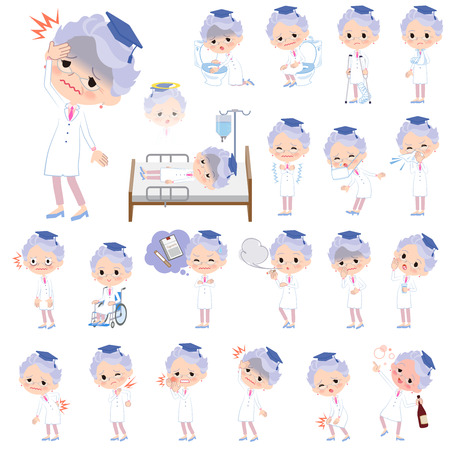 Research Doctor old women with sickness Illustration