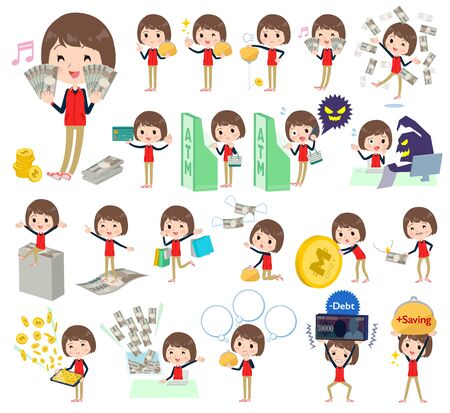 Store staff red uniform women money Illustration