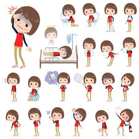 赤い制服を着た病気店スタッフのセット  イラスト・ベクター素材