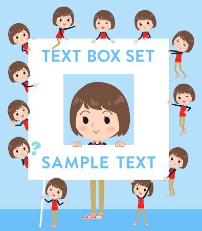 Store staff red uniform women text box